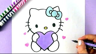 Download HOW TO DRAW HELLO KITTY WITH LOVE HEARTS | EASY DRAWING TUTORIAL Video