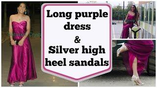 Download Crossdresser - long purple dress and silver high heels sandals   NatCrys Video