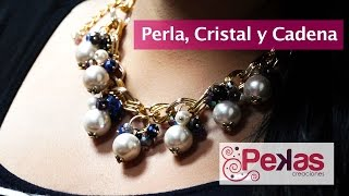 Download Como hacer un Collar de Perla, Cristal y Cadena Dorada: Pekas Creaciones Video