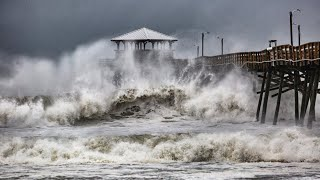 Download Waves slam Oceanana Pier in Atlantic Beach as Hurricane Florence approaches Video