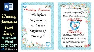 Download MS Word Tutorial: Professional Wedding Invitation Card Design in Microsoft Word 2013 By Asith Video