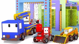 Download Tiny Trucks Car Wash - Learn with Tiny Trucks : bulldozer, crane & excavator | Cartoon for toddlers Video