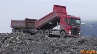 Download 4K| Dump Trucks Dumping Rocks Video