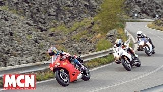Download Ducati Panigale 899 fights Suzuki and Triumph | Group Test | Motorcyclenews Video