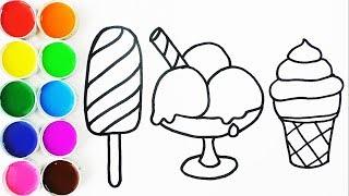 Download Cómo Dibujar y Pintar Helados de Arco Iris - Dibujos Para Niños - Learn Colors For Kids /FunKeep Video