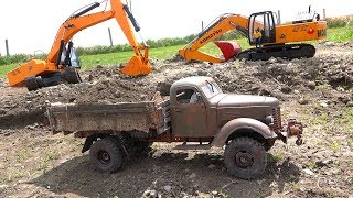 Download Heavy Load Tips Truck - 1948 KR11 International Harvester Loaded by EXCAVATOR! | RC ADVENTURES Video