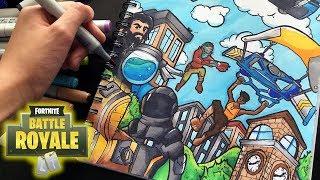 Download EPIC FORTNITE DRAWING!!   Fortnite Battle Royal Copic Marker Illustration   Shrimpy Video