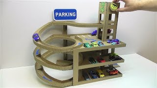 Download DIY Car track with lift and with Parking of cardboard Video