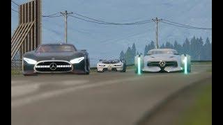 Download Bugatti Vison GT vs Mercedes-Benz Vision GT vs Mercedes-Benz Silver Arrow Concept at Hihglands Video