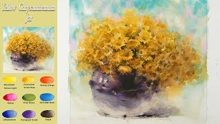 Download Drawing Flower watercolor - Yellow chrysanthemum jar (wet-in-wet. Fabriano rough) NAMIL ART Video