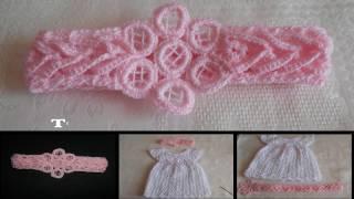 Download Tiara - diadema - vincha - banda en crochet, punto fantasía para bautizo Video