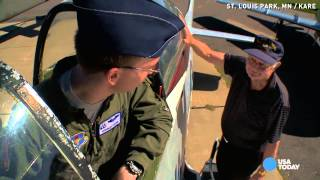 Download Watch new Air Force pilot take his WWII grandpa flying Video