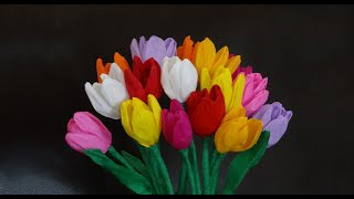 Download How to make beautiful paper tulip flowers / DIY Mother's day craft Video