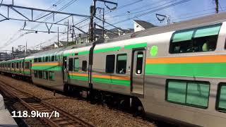 Download 【新幹線の真横を爆走】横須賀線 本気の高速通過集 速度付き Video