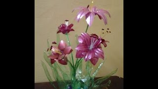 Download Best Out Of Waste Plastic bottles transformed to lovely lily plant Showpiece Video