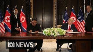 Download Donald Trump and Kim Jong-un sign document after summit Video