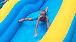 Download Kids HILARIOUS reaction on WATER SLIDE! Video