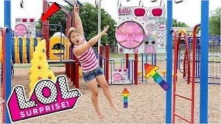 Download LOL Surprise BIGGIE PETS Scavenger Hunt For LOL Dolls At The Outdoor Playground PARK with Kids! Video