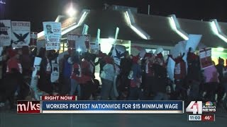 Download Workers protest for $15 minimum wage Video