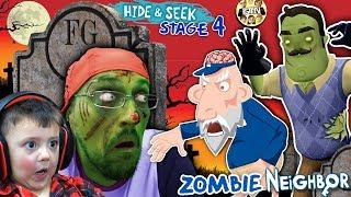 Download ZOMBIE HIDE n SEEK! FGTEEV Hello Neighbor! Stage 4 BRAINZZZZ (Gameplay / Skit) Video