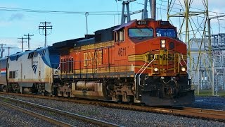 Download Freight Engines Pull Amtrak Trains Video