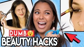 Download TRYING DUMB BEAUTY HACKS! (thanks 5-minute crafts) 😇 Video