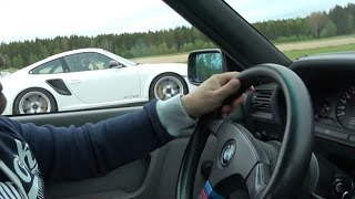 Download [4k] Porsche 911 GT2 RS vs BMW M3 E30 V10 S85 TWO races in Ultra HD 4k Video