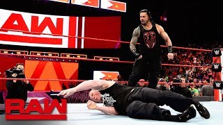 Download Roman Reigns unleashes on Brock Lesnar before WrestleMania: Raw, April 2, 2018 Video