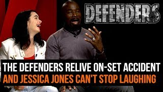 Download The Defenders relive on-set accident (and Jessica Jones can't stop laughing) Video