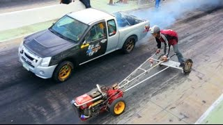 Download Kubota FARM TRACTOR owned MITSUBISHI PICKUP TRUCK in Drag Racing !!! Video