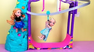 Download Indoor Play Place ! Elsa and Anna toddlers - zip line - foam pit - Barbie - playdate Video