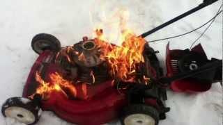 Download Huge lawn mower fire! Video