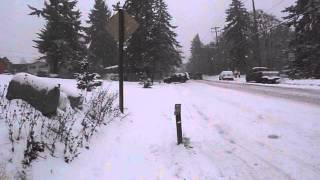 Download Bad day for drivers on Eola Rd. coming down the icy hill towards Edgewater (West Salem, Oregon). Video