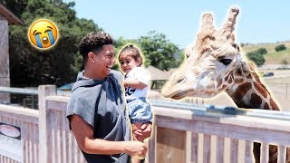 Download ELLE MEETS THE GIRAFFE...AND SHE FREAKS OUT!!! (SORRY ELLE) Video