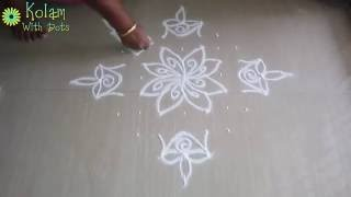 Download How to put rangoli designs with hands - 11 to 1 dots - muggulu tutorial - kolam for home!! Video
