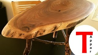 Download Rustic Live Edge Walnut Coffee/End Table with Applewood Legs Video
