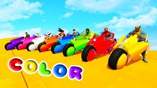 Download LEARN COLORS HOWER BIKE w/ Superheroes Fun Animation for Children and Babies Video