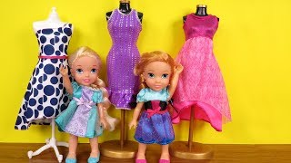 Download SHOPPING ! Elsa and Anna toddlers at Clothing Store - Dresses - Shoes - Purses Video