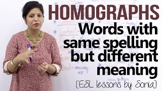 Download Homographs – Words having same spellings but different meaning (English pronunciation lesson) Video