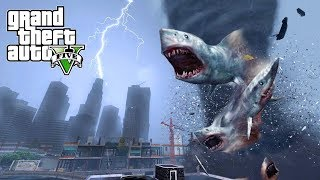 Download HUGE SHARKNADO HITS THE CITY!!! GTA V END OF LOS SANTOS MOD Video