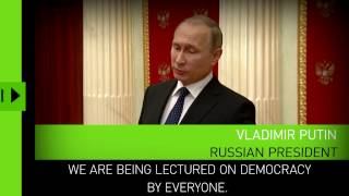 Download 'Degradation of democracy': Putin responds to EU Parliament resolution on Russian media 'propaganda' Video