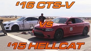 Download '16 CTS-V vs '15 Charger Hellcat - 1/2 Mile Drag Race! Video