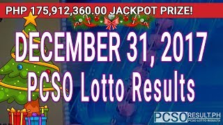 Download PCSO Lotto Results Today December 31, 2017 (6/58, 6/49, Swertres, STL & EZ2) Video