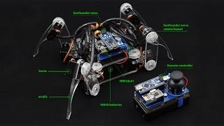 Download Arduino Electronics Spider Quadruped Robot Kit with Servo Control Board and Nano, Remote Control Video
