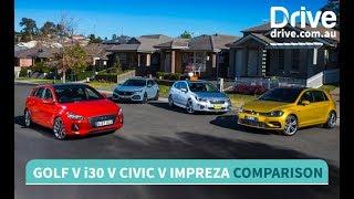 Download Volkswagen Golf v Hyundai i30 v Honda Civic v Subaru Impreza Comparison | Drive.au Video