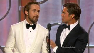 Download Ryan Gosling and Brad Pitt present at the 2016 Golden Globes Video