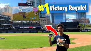 Download I Won a Game of FORTNITE on a JUMBOTRON!! (BIGGEST BASEBALL STADIUM) Video