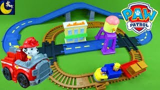 Download LOTS of Paw Patrol Toys Monster Truck Race Car Marshall Chase and Skye Adventure Bay Train Track Set Video