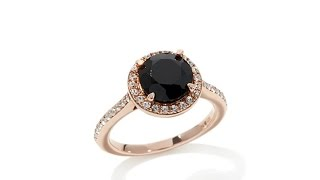 Download Rarities 3ct Black Spinel White Zircon Halo Ring Video