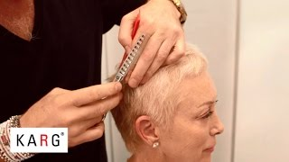 Download How to cut short blond hair pixie like with texturizing, thinning shears Video